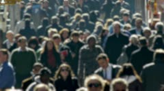 Anonymous Crowd of People Walking morning commute blur face - stock footage