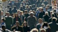Anonymous Crowd of People Walking morning commute 24p blur face slow motion Stock Footage
