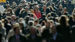 Anonymous Crowd of People Walking morning commute blur face Stock Footage