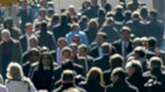 Anonymous Crowd of People Walking morning commute 24p blur face slow motion - stock footage