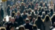 Anonymous Crowd of People Walking morning commute 25p blur face PAL Stock Footage