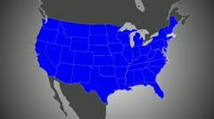 US Map, Zoom into Massachusetts (25fps) Stock Footage