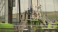 Oil industry, drill rig prairie very long shot Stock Footage