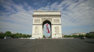 Stock Video Footage of  French flag under Arc de Triomphe, Paris