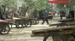 Donkey parking place in a village in Xinjiang, China Stock Footage