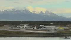 Argentina Ushuaia airport and mountain peaks Stock Footage