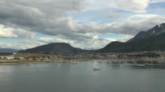 Argentina Ushuaia slowly passing harbor  Stock Footage
