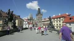 Charles Bridge, Prague, Czech Republic Stock Footage