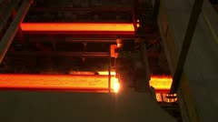 Hot rolled steel. Cutting a slab of hot metal. Stock Footage