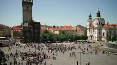 The Old Town Hall Tower, Prague Stock Footage