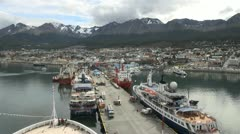 Ushuaia Argentina view of docks Stock Footage