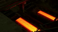 Hot rolled steel. Fresh cast hot metal slab. - stock footage