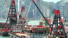 Small container terminal in Victoria Harbour in Hong Kong Stock Footage