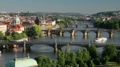 River Vltava and Charles Bridge, Prague - stock footage