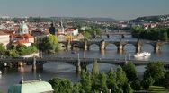 Stock Video Footage of  River Vltava and Charles Bridge, Prague