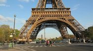 Stock Video Footage of Eiffel Tower Base.