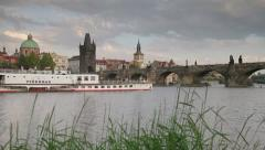 River Vltava and Charles Bridge, Prague Stock Footage