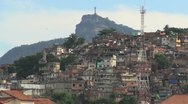 Stock Video Footage of Rio favela and Corcovado in the distance s