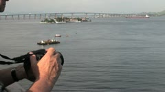 Rio harbor hands hold camera Stock Footage