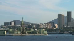 Rio harbor buildings down town Stock Footage