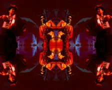 VJ01 psychedelic vj loop of two musicians Stock Footage