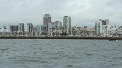 Long Beach from Harbor Stock Footage