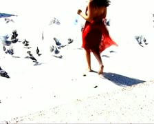 VJ06 vj loop of a girl in a red dress Stock Footage