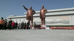 Statues of former Presidents Kim Il-Sung and Kim Jong Il, North Korea Stock Footage