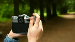 Girl with a camera Stock Footage
