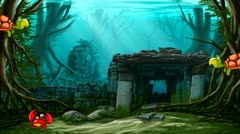 Ancient town ruins with animated sea animals. Stock Footage