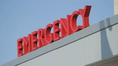 Emergency Sign & Blue Sky Stock Footage