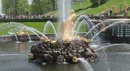 Fountains in Lower Gardens of Petergof (Petrodvorets), Saint Petersburg Stock Footage