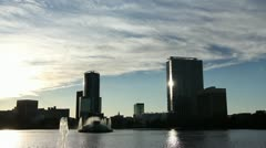 City Skyline And Lake - stock footage
