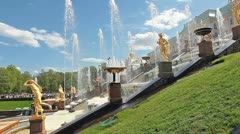 Fountains in Lower Gardens of Petergof (Petrodvorets), Saint Petersburg Stock Footage