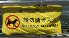 'No dogs allowed' banner in Hong Kong Stock Footage