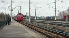 Train arrival on Segezha station, Russia Stock Footage