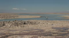 Chile Atacama Laguna Chaxa mud paddy and bird 3 Stock Footage