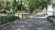 Roads in the park with trees and fresh. Stock Footage