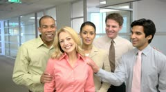 Portrait of five coworkers in office - stock footage