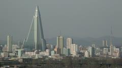 Pyongyang, Ryugyong Hotel, North Korea Stock Footage