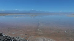 Chile Atacama Laguna Chaxa reflects mountains18 Stock Footage