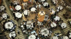 China restaurant Hong Kong dining overhead tables guests rich luxury Stock Footage