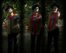 VJ26 split screen vj loop of a woman clown playing the accordion - stock footage