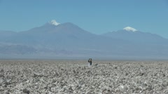 Chile Atacama Laguna Chaxa people on salt flat 27 Stock Footage