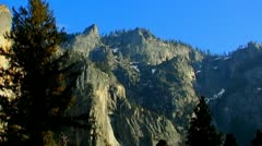 Yosemite Cliffs & Pine Trees In Late Afternoon Stock Footage
