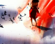 VJ24 a woman walking barefoot chasing doves Stock Footage