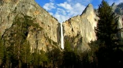 Yosemite Sentinel Falls Wide Zoom To Close Up 1 - stock footage