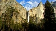 Yosemite Sentinel Falls Wide Zoom To Close Up 1 Stock Footage