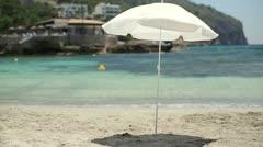 Umbrella on beautiful tropical beach HD Stock Footage