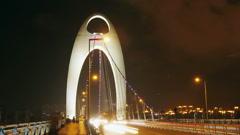 Liede Bridge Traffic at Night Stock Footage
